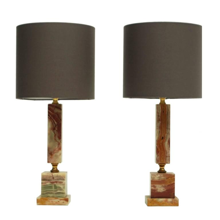 Pair of 1960s Onyx and Brass Italian Table Lamps