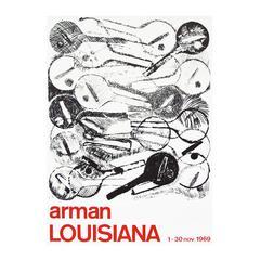 1960s Arman Art Exhibition Poster Design Pop Art Guitar