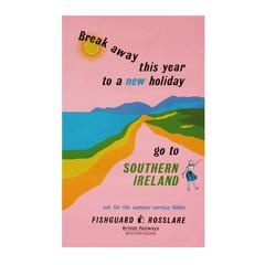 1960s British Rail Southern Ireland Travel Poster Art Pink