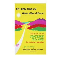 1960s British Rail Southern Ireland Travel Poster Art Yellow