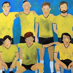 'Players' Portrait Painting by Alan Fears Football Team Soccer Art