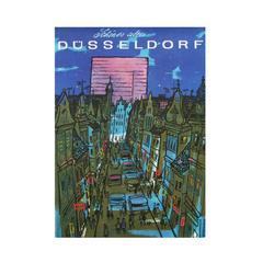 1960s Dusseldorf Germany Travel Poster City Pop Art Illustration