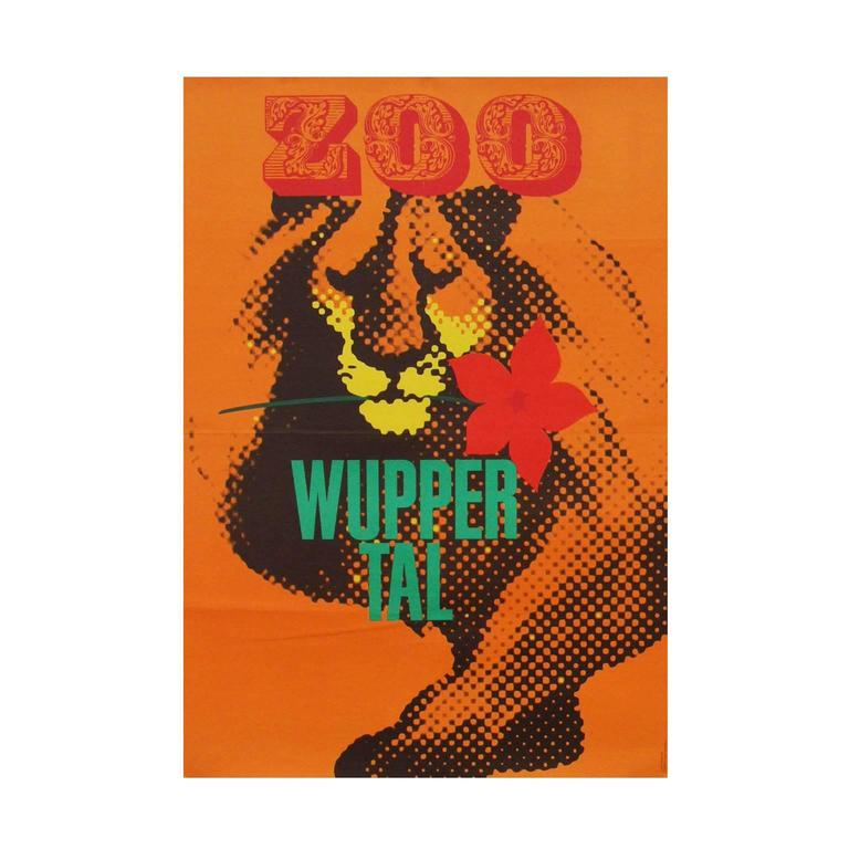 1960s wuppertal zoo germany travel poster lion illustration art for sale at 1stdibs. Black Bedroom Furniture Sets. Home Design Ideas