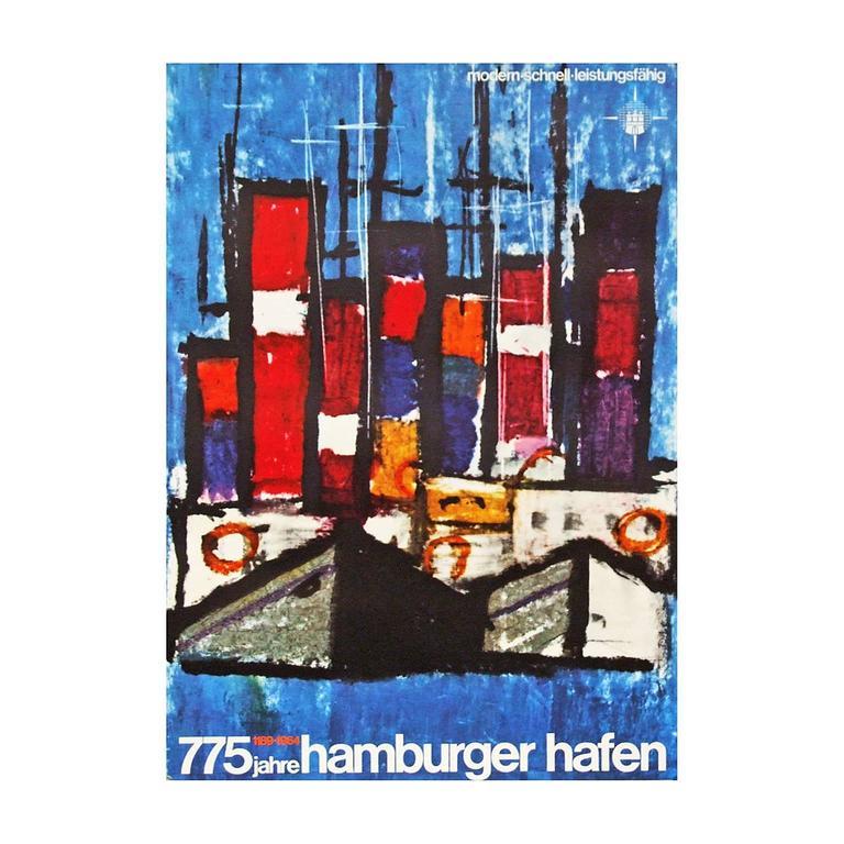 1960s Hamburg Harbour Germany Travel Poster Art Boat Design