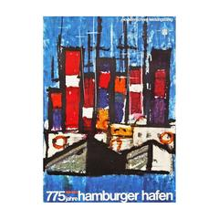 1960s Hamburg Harbour Germany Travel Poster Art Boat Design