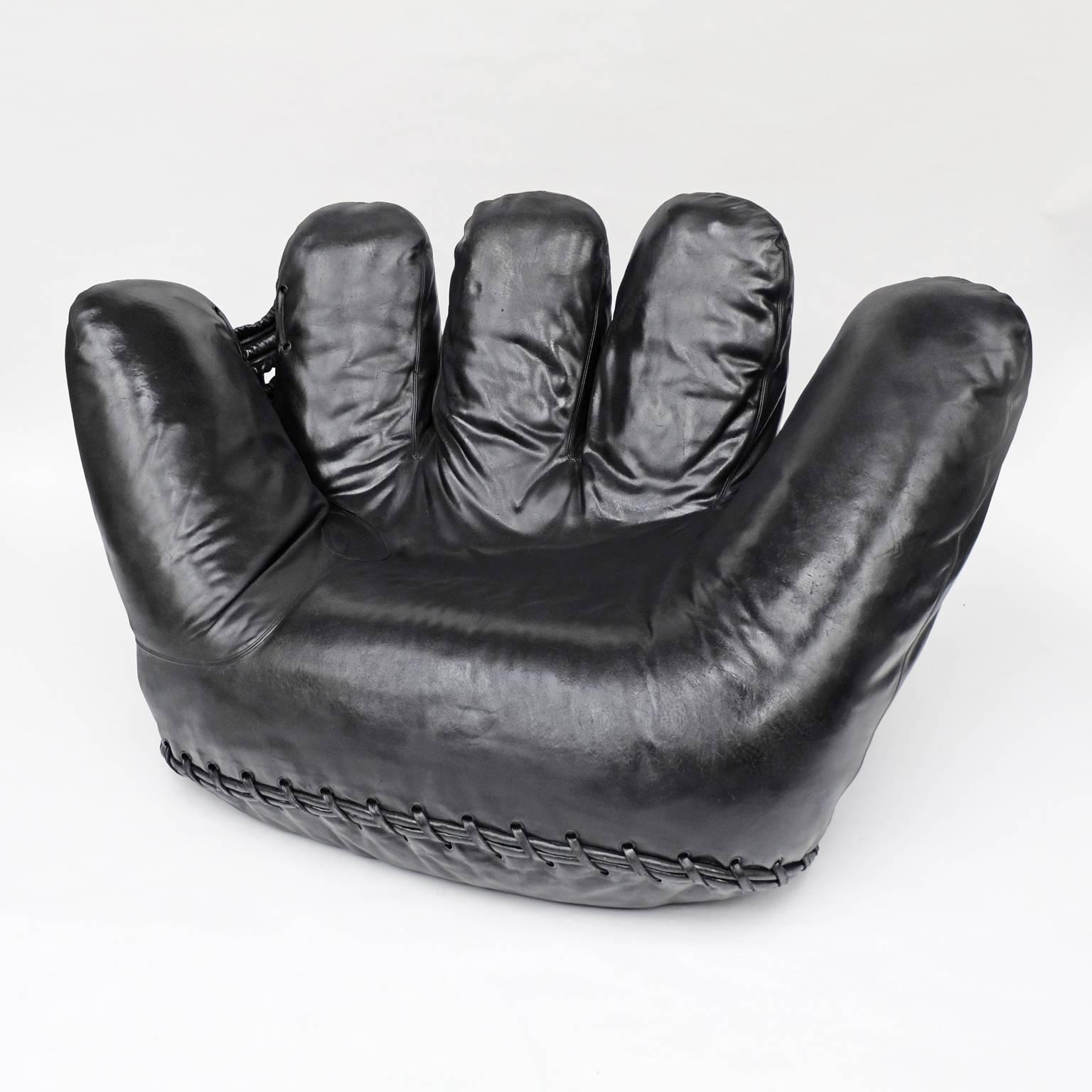 1970s Black Leather Poltronova Joe Baseball Glove Chair Pop Art For Sale At  1stdibs