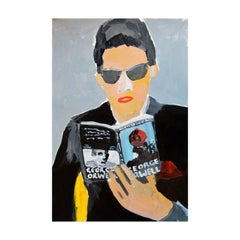 'Pretending to Read' Painting by Alan Fears Acrylic on Paper, 1984