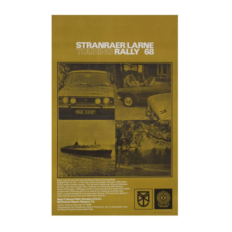 1960s Scotland and Ireland Car Touring Rally Poster Stanraer Larne