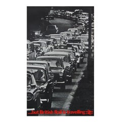 1970s Rare British Rail Travel Poster Classic Cars Traffic Jam