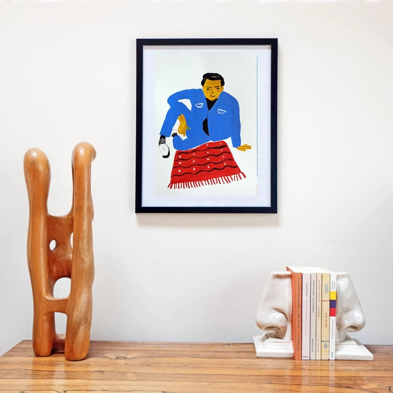 Acrylic on 300 gsm paper by Alan Fears, 2018.   Unframed. The frame is for display purposes only.  Alan Fears (b. 1974) is an emerging British artist who is shortlisted for the John Moore's painting prize, 2018.  'A naive artist, a graphic