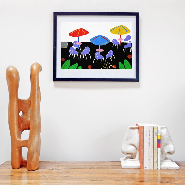 English 'The Quiet Time' Landscape Painting by Alan Fears Acrylic on Paper Pop Art For Sale