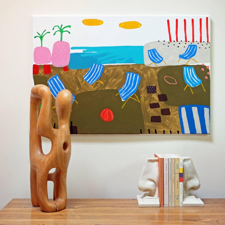Acrylic on canvas by Alan Fears, 2018.  Alan Fears (b. 1974) is an emerging British artist who is shortlisted for the John Moores Painting Prize, 2018.  'A naive artist, a graphic artist, a pop artist. I am a slice of each. My style is simple