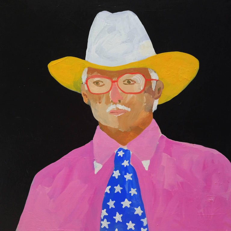 'Trouble on My Mind' Portrait Painting by Alan Fears Cowboy For Sale