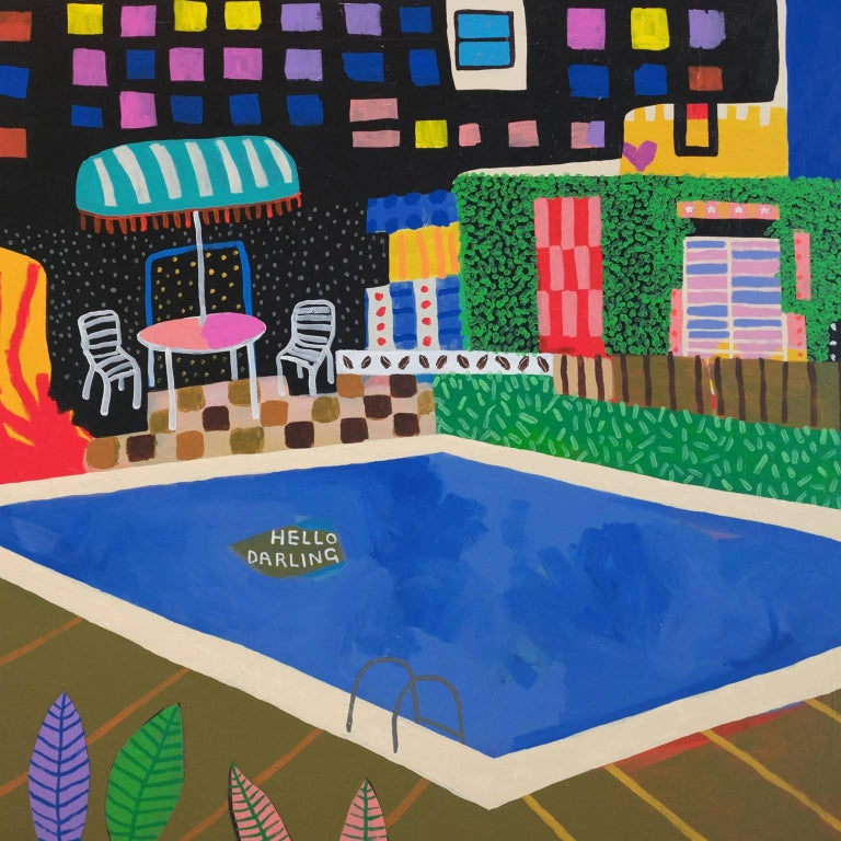 'A Warm Welcome' Landscape POOL Painting by Alan Fears Pop Art For Sale