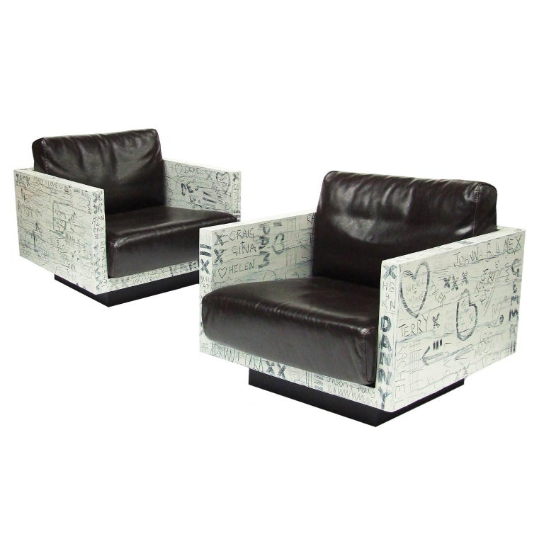 Pair of Sweetheart Graffiti Leather Armchairs Bespoke Art Furniture For Sale