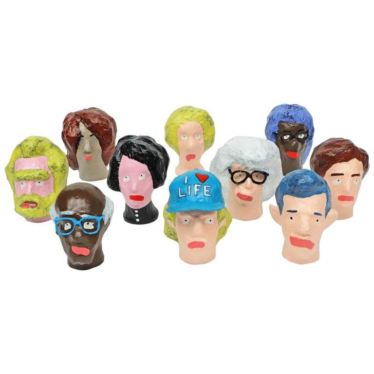 'Followers' Sculptures by Alan Fears Paper Mache Pop Art Heads For Sale