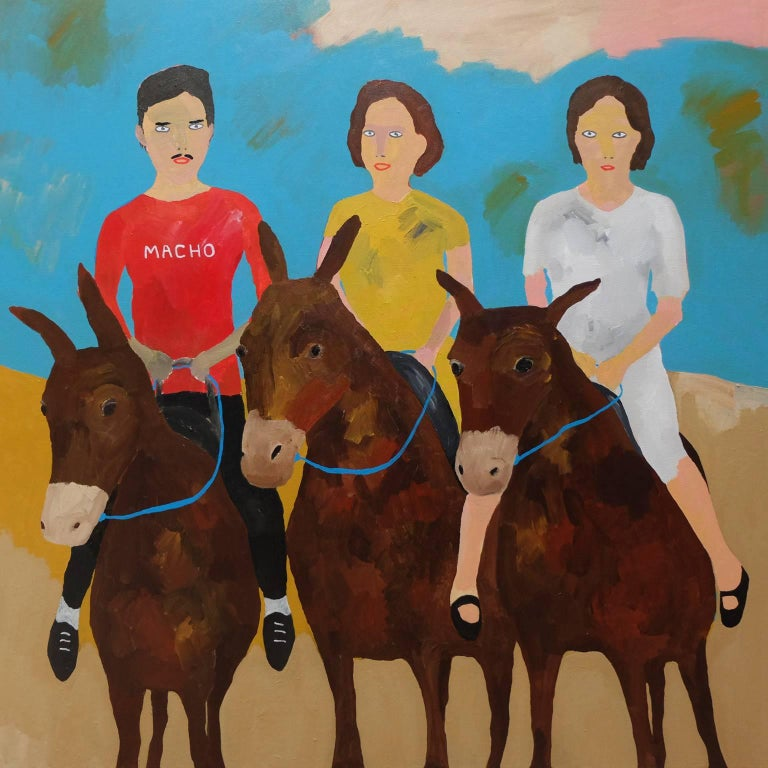 'The Riding Instructor' Portrait Painting by Alan Fears Donkeys Art For Sale