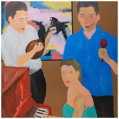 'Tony on Maraca' Family Portrait Painting by Alan Fears Pop Art