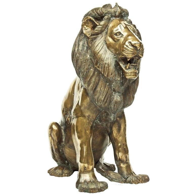 1960s Large Impressive Bronze Lion Sculpture
