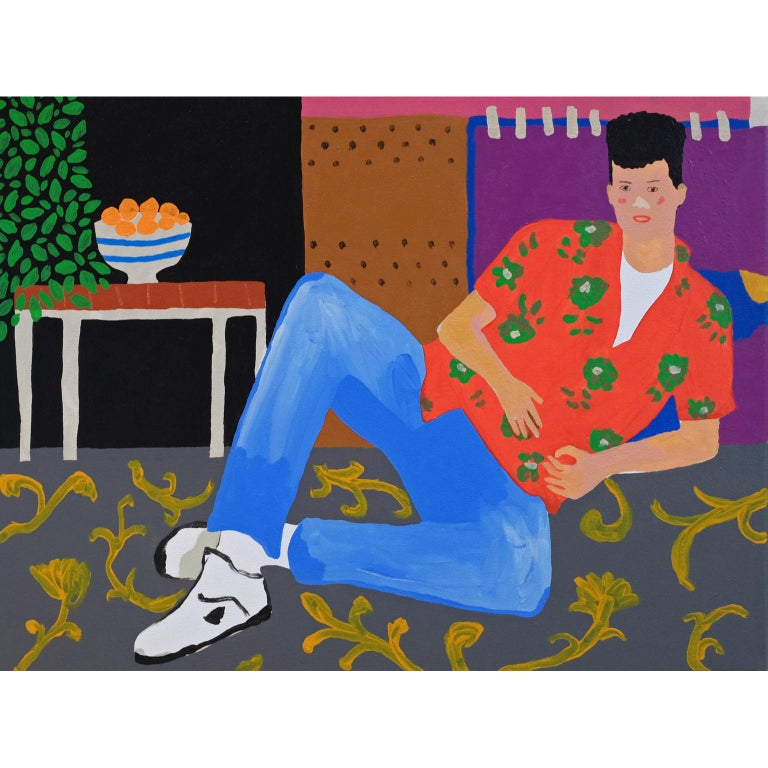 'Thick Rug' Portrait Painting by Alan Fears Pop Art For Sale