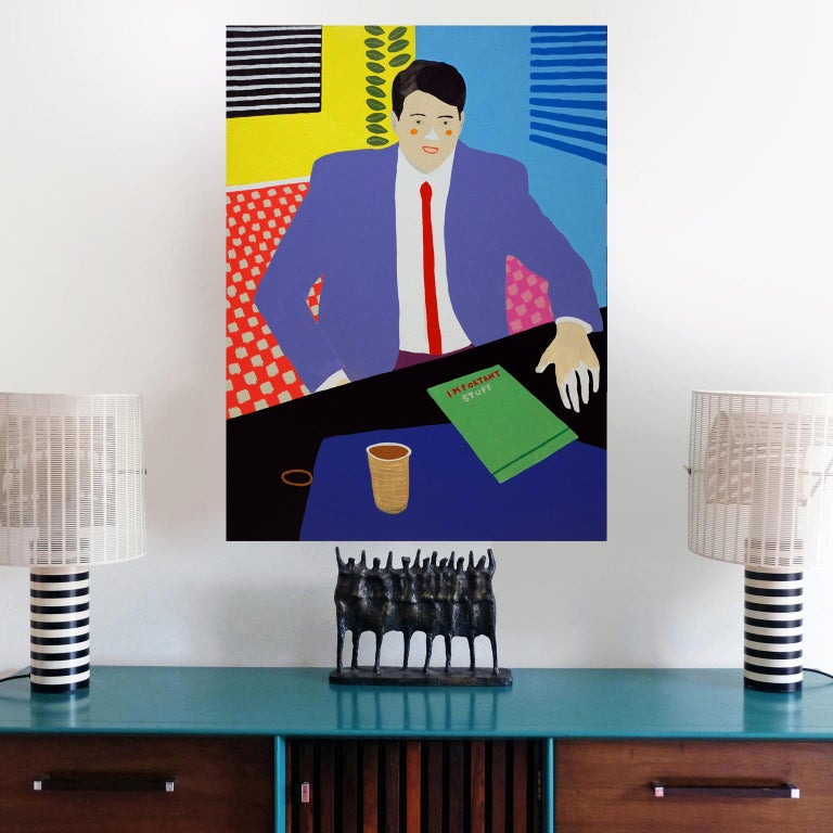 English 'the Management Position' Figurative Portrait Painting by Alan Fears Pop Art For Sale