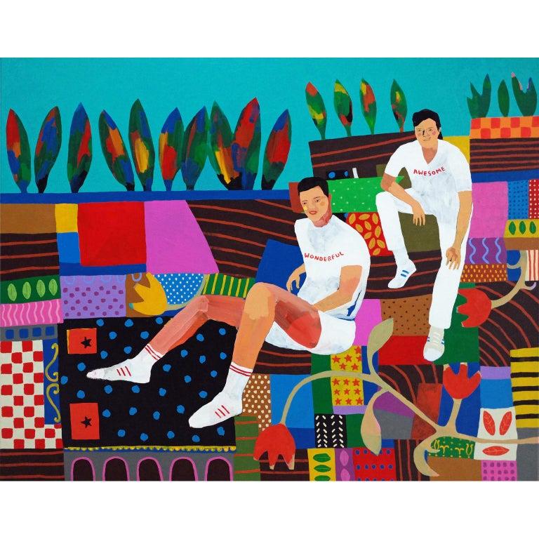 Modern 'Boyfriend Material' Figurative Portrait Painting by Alan Fears Pop Art For Sale
