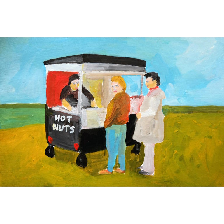 Modern 'Fresh Hot Nuts' Painting by Alan Fears Acrylic on Paper British Life For Sale