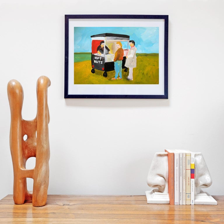 Great Britain (UK) 'Fresh Hot Nuts' Painting by Alan Fears Acrylic on Paper British Life For Sale