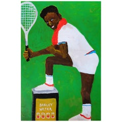 'I've Got Tennis Elbows' Painting by Alan Fears Acrylic on Paper Portrait