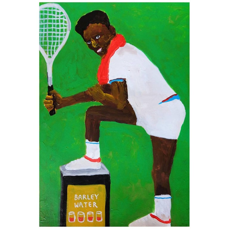 'I've Got Tennis Elbows' Painting by Alan Fears Acrylic on Paper Portrait For Sale