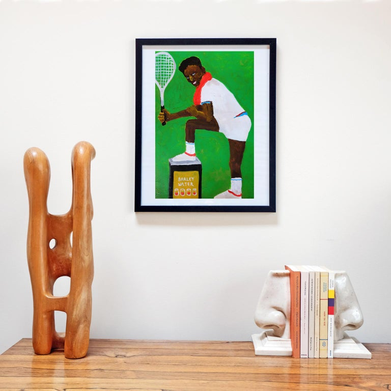 Great Britain (UK) 'I've Got Tennis Elbows' Painting by Alan Fears Acrylic on Paper Portrait For Sale