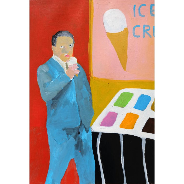 Modern 'Sloppy Seconds' Portrait Painting by Alan Fears Acrylic on Paper Ice Cream For Sale