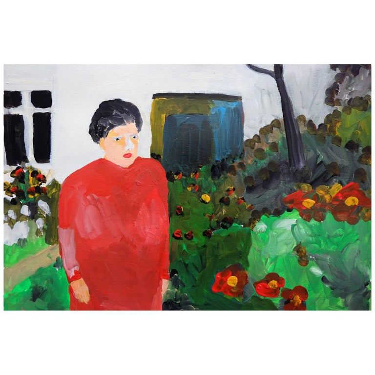 'a Brand New Wig' Portrait Painting by Alan Fears Acrylic on Paper Garden For Sale