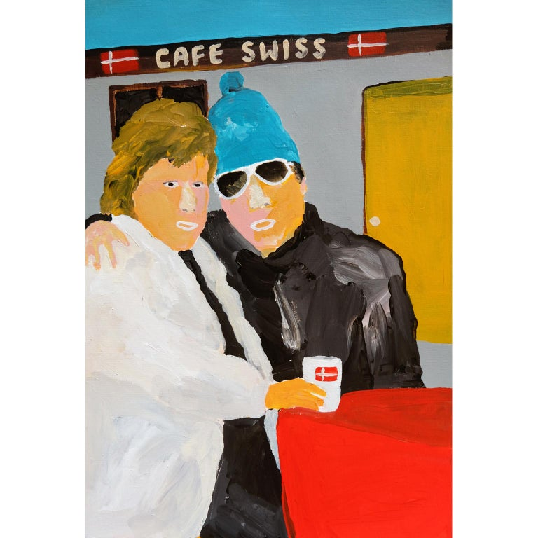Modern 'The Pep Talk' Portrait Painting by Alan Fears Acrylic on Paper Skiing Holiday For Sale