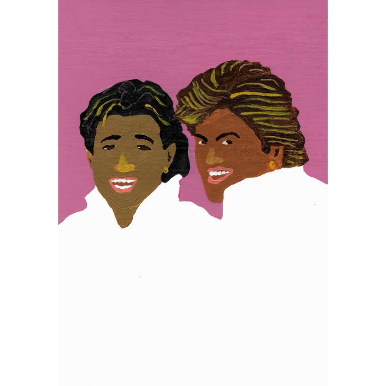 Modern 'Wham Tans' Portrait Painting by Alan Fears Acrylic on Paper 1980s For Sale