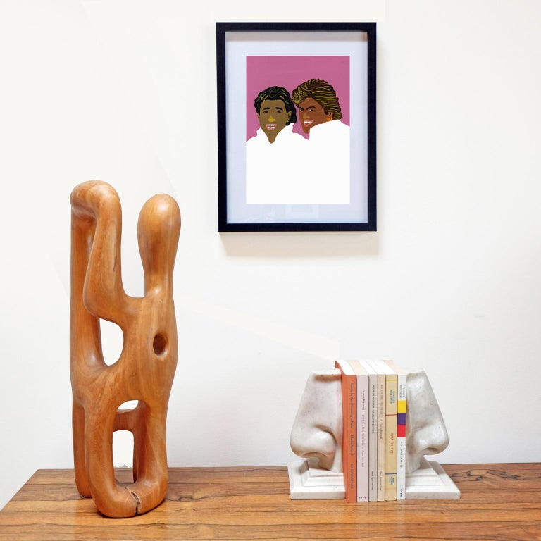 English 'Wham Tans' Portrait Painting by Alan Fears Acrylic on Paper 1980s For Sale