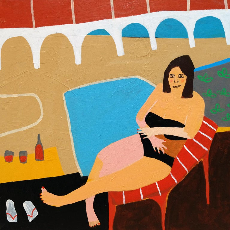 Modern 'Mandy's Modesty' Figurative Painting by Alan Fears Folk Art For Sale