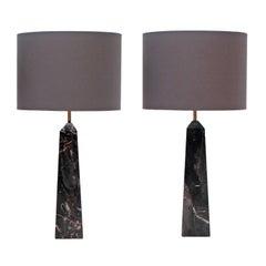 Pair of 1960s Black Portoro Marble Obelisk Italian Table Lamps