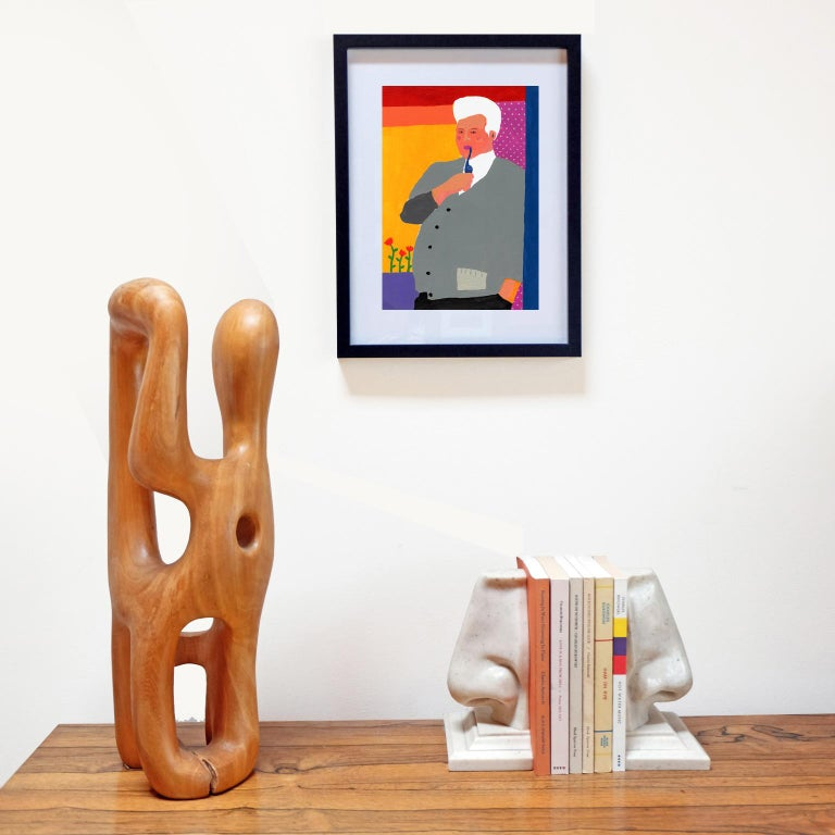 Acrylic on 300gsm paper by Alan Fears, 2018.   Unframed. The frame is for display purposes only.  Alan Fears (b. 1974) is an emerging British artist who is shortlisted for the John Moores painting prize 2018.  'A naive artist, a graphic