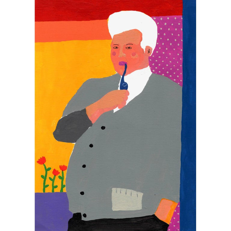 Modern 'Him Indoors' Portrait Painting by Alan Fears Acrylic on Paper For Sale