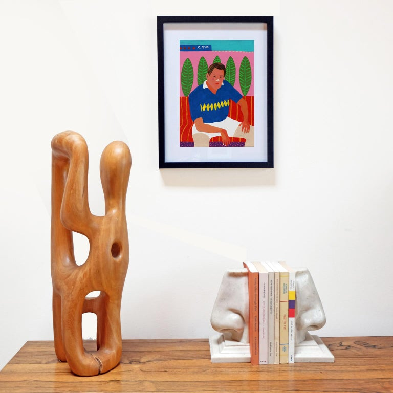 English 'Wrist Issues' Portrait Painting by Alan Fears Acrylic on Paper For Sale