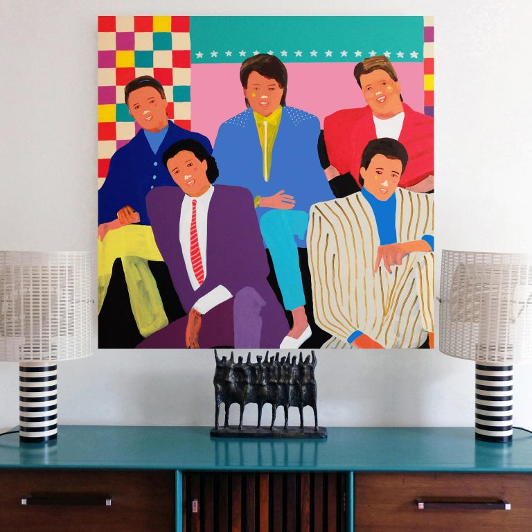 British 'The Simple Things' Portrait Painting by Alan Fears Pop Art Figurative For Sale