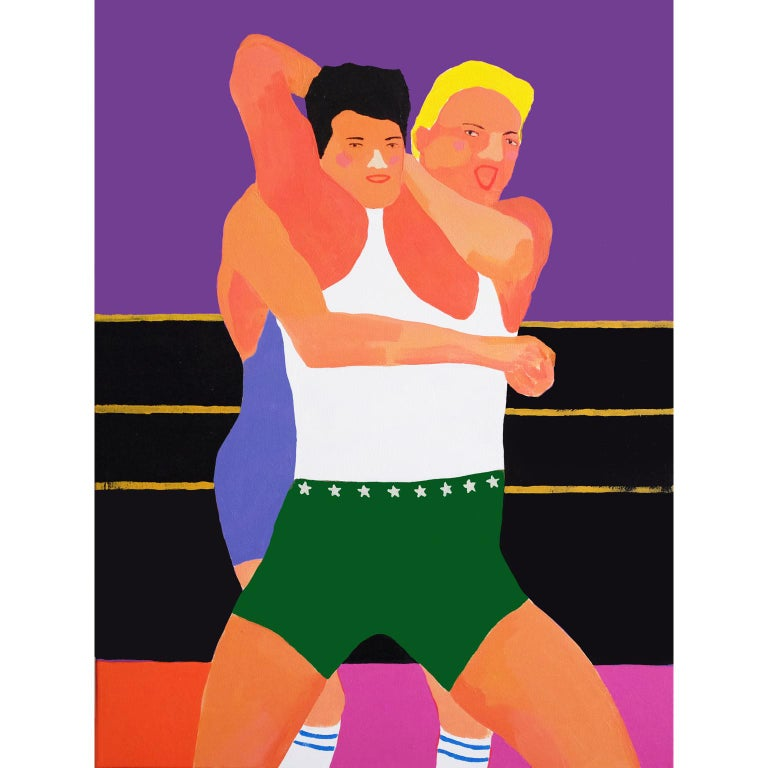 Modern 'All Mouth and No Trousers' Portrait Painting by Alan Fears Pop Art Wrestling For Sale