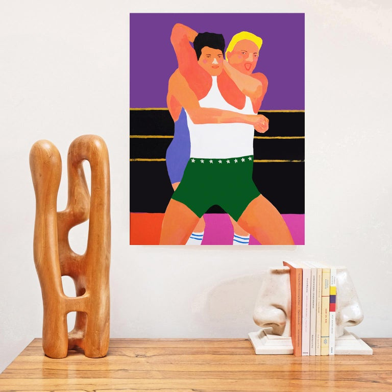 British 'All Mouth and No Trousers' Portrait Painting by Alan Fears Pop Art Wrestling For Sale