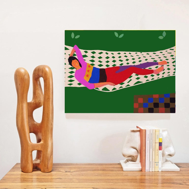 British 'Tammy on a Hammock' Portrait Painting by Alan Fears Pop Art For Sale