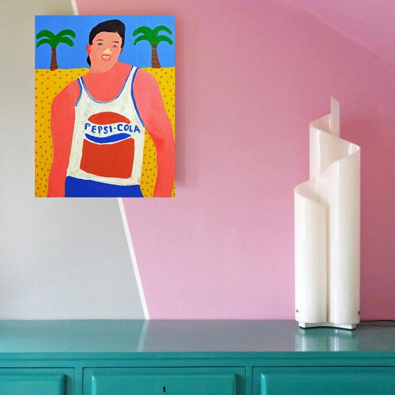 British 'Same Great Taste' Portrait Painting by Alan Fears Pop Art Pepsi For Sale