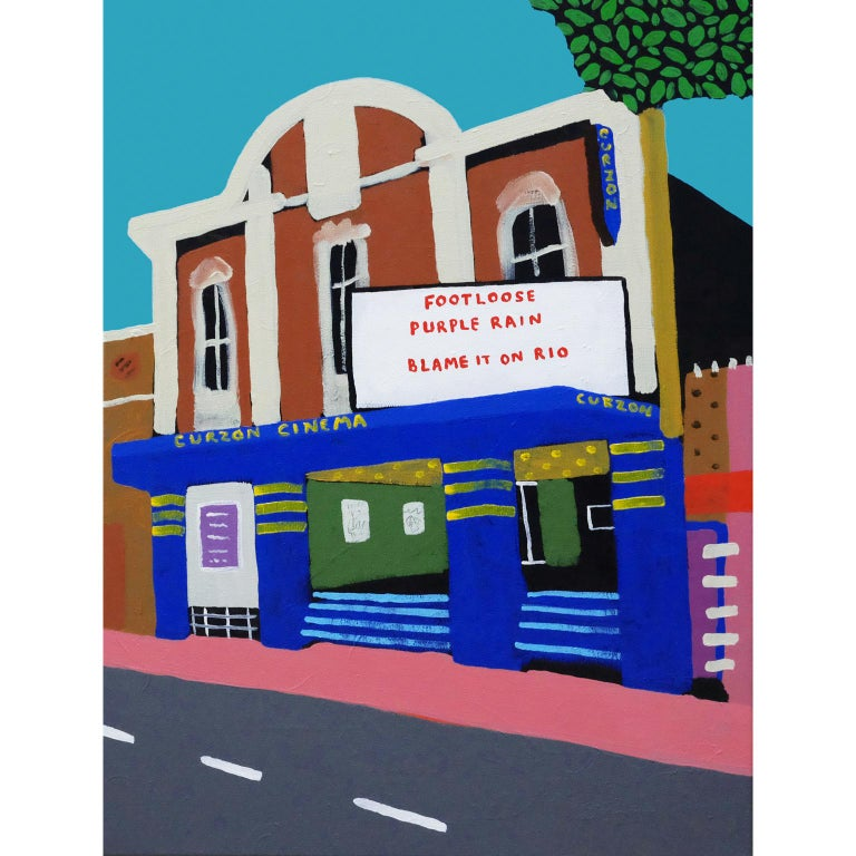 'Saturday Matinee' Landscape Cinema Painting by Alan Fears Pop Art Film, 1980s  For Sale