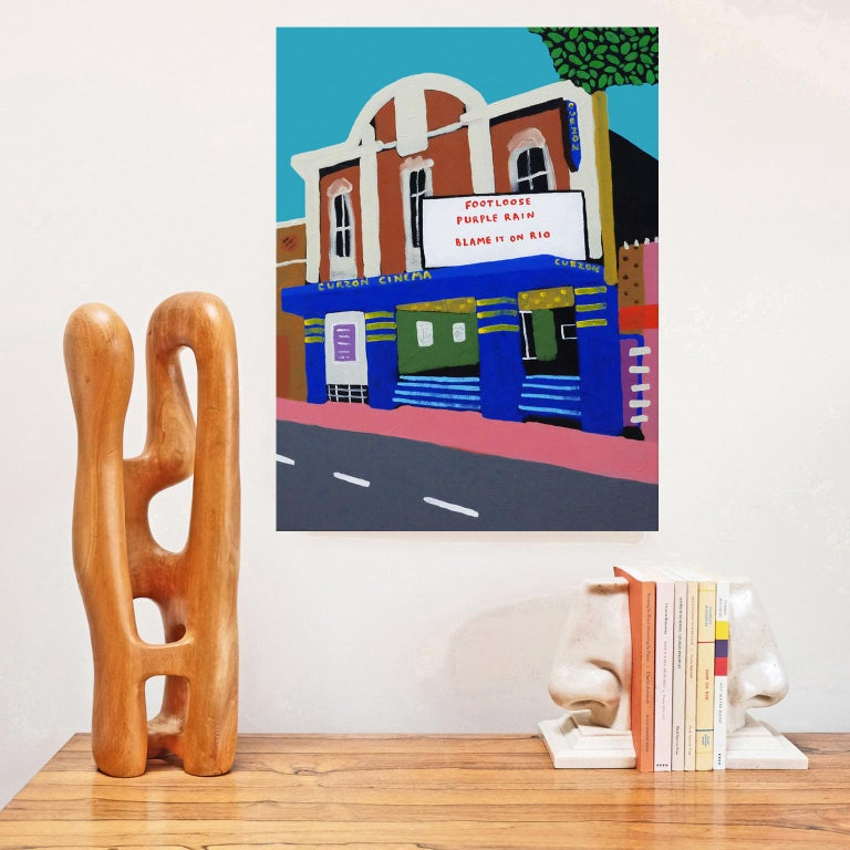 British 'Saturday Matinee' Landscape Cinema Painting by Alan Fears Pop Art Film, 1980s  For Sale