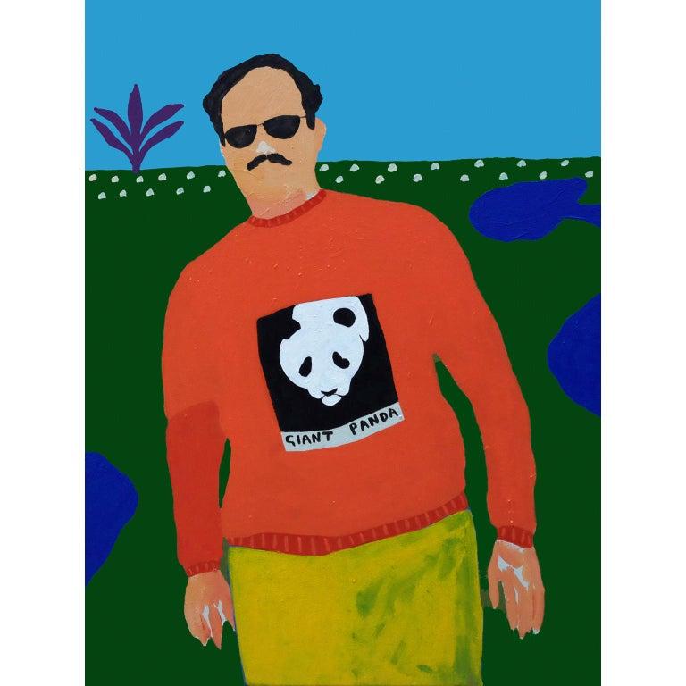 Modern 'Endangered Species' Portrait Painting by Alan Fears Pop Art Panda For Sale