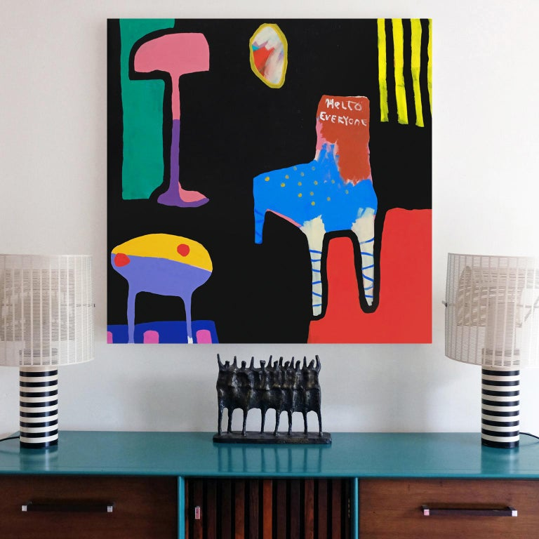 British 'New Chair' Still Life Abstract Painting by Alan Fears Pop Art For Sale